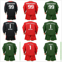 Wholesale Kids Football Uniforms Set - 2017 2018 Kids Long Sleeve NEUER Goalkeeper Jersey Kit Youth Soccer Sets Buffon Navas De Gea Donnarumma Football Kits KID Full Uniform