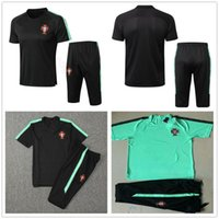 Wholesale national soccer sleeve resale online - 2018 World Cup National Portugal Short Sleeve Training Suit Green Black Custom Any Name Number Soccer Football Shirt Tracksuit Kit