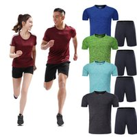 Wholesale Couple Outfit Clothing - Short Sleeve Quick Dry Couple Running Tracksuits Men Gym Clothing Women Pilates Outfit Lover Sports Trainning Fitness YOGA Wears A3W3