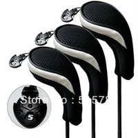 Wholesale hybrid club head covers - 3pcs Set Golf Accessories Golf Headcover Andux Hybrid Club Head Cover Interchangeable No. Tag MT hy06 Black & Sliver