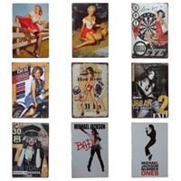 Wholesale galleries art online - Sexy Women Design Iron Painting Nostalgic Creative Tins Poster For Bedroom Art Gallery Unique Decoration Tin Sign New Arrival cm Z