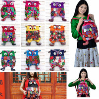 renkli çocuklar sırt çantaları toptan satış-Okul öncesi Çocuklar Baykuş Etnik Çanta Keten Sırt Çantası Renkli Schoolbag Omuz Satchel Patchwork Omuz Çantası 9 Renkler AAA365