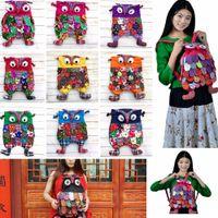 mochilas de niños de colores al por mayor-Preescolar Niños Búho Bolso étnico Mochila de lino Bolso de colores Mochila de hombro Bolso Patchwork 9 colores AAA365