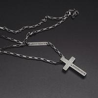 titanium religious crosses 도매-성격 동향 커플 펜던트 종교 크로스 목걸이 티타늄 스틸 간단한 세련된 정교한 보석 레트로 실버 목걸이 남여 G800F