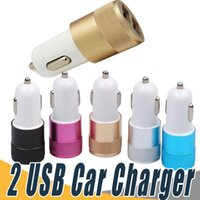 Wholesale x volt - 6 Styles Car Charger Metal Dual 2-Port USB Adapter Universal 12 Volt 1 ~ 2 Amp For iPhone X iPad iPod Samsung Cellphones