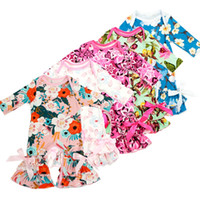 Wholesale new style baby clothes girl for sale - Group buy Baby floral Ruffle romper girls Flower print Jumpsuits new children ruffled Pajamas kids Climb clothes styles C3559