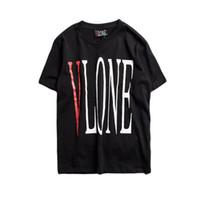 tipo homens venda por atacado-VLONE T-shirt Dos Homens Mais Novo Tipo Streetwear Moda Big V Impresso Manga Curta T Camisas de Hip Hop Skateboards Amigos T Shirt mulheres