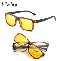 ingrosso occhiali ambra-Occhiali da vista rettangolari vintage con magnete CLIP POLARIZZATO Occhiali trasparenti da uomo per occhiali da vista Occhiali da vista color ambra