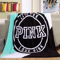 Wholesale Electric Throws - 4 Colors 130*150cm Pink Letter Blanket Soft Coral Velvet Beach Towel Blankets Air Conditioning Rugs Comfortable Carpet CCA7892 200pcs