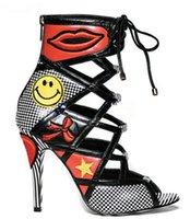 eiscreme auge großhandel-2018 Heißer Verkauf EyesEiscreme Stiletto High Heels Kleid Party Schuhe Frau Offene Zehe Zurück Reißverschluss Gladiator Sandalen Stiefel