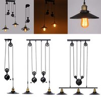 Wholesale industrial kitchen lighting pulleys resale online - Retro Industrial Pulley Pendant Lamp Retractable Lifting Pully Ceiling Light