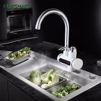 chauffage électrique instantané achat en gros de-YANKSMART RU chauffe-eau instantané sans robinet robinet d'eau électrique robinet de cuisine chauffe instantanément + LED plug UE