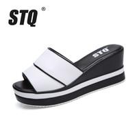 ingrosso cunei rosa neri-STQ 2018 Pantofole da donna estate Open Toe Spigole con zeppa per donna Pantofole nero bianco diapositive sandali 9903