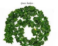 Wholesale vines leaves - 2018 New Style 2M 24Pcs Wired Ivy Leaves Garland Silk Artificial Vine Greenery For Wedding Home Office Decoratiove Wreaths