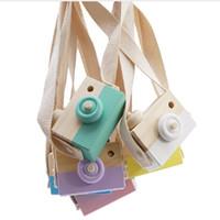ingrosso regali di legno per i bambini-Carino giocattolo macchina fotografica in legno Baby Kids appeso fotocamera fotografia Prop Decorazione bambini giocattolo educativo compleanno regali di Natale