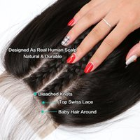 Wholesale Hair Lace Closure x5 Straight With Baby Hair Brazilian Human Remy Hair Closure Natural Color Bleach Knots