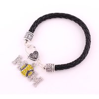 Wholesale wholesale baseball mom - Drop Shipping Baseball MOM Bracelet Jewelry Rhinestone Fashion Antique Silver Plated Leather Rope Chain Sports Charm Bracelet