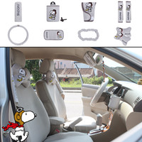 Wholesale car upholstery online - 10pcs unit Auto Accessories Snoopy Cartoon Car Upholstery Steering wheel cover pillow car covers set Universal Automotive interior