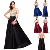 Wholesale long bridesmaid robes for sale - Vestido de Festa Sexy Backless Lace Beaded Long Evening Dress A Line V Neck Satin Prom Gowns Robe De Soiree CPS358