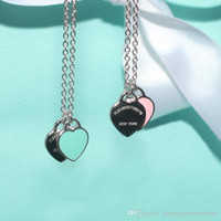 collier pour paires achat en gros de-Nouvelle arrivée en acier inoxydable chaîne coeur amour colliers femmes tif collier mode tendance apparié pendentifs de suspension modèle PS6030