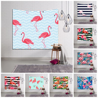 Wholesale 3d tapestry - Rectangle Wall Tapestry Flamingo Stripe Pattern 3D Beach Towel Soft Polyester Fiber Yoga Mat For Home Decoration 18lsb B
