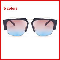 Wholesale Occhiali Da Sole - Top quality men sunglasses 2018 design big square semi rimless sun glasses men luxury unisex UV occhiali da sole