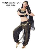 femmes indiennes dansant les vêtements achat en gros de-Costumes de danse du ventre des adultes indiens Bollywood danse Vêtements femmes lanterne pantalon à manches courtes Top 5 Pcs Set Indian Performance Set
