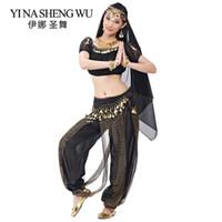 hintli bollywood kostümleri toptan satış-Yetişkin Hint Dans Kostümleri Bollywood Oryantal Dans Giyim Kadın Fener Pantolon Kısa Kollu Üst 5 Adet Set Hint Performans Set