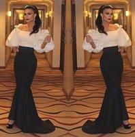 Wholesale Gray Bamboo Flooring - Designer Arabic Style Evening Dresses Puffy Long Sleeve Long Prom Dresses Boat neck Mermaid Black and White Elegant Party Dress