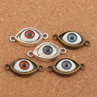 Wholesale Round Friendship Bracelets - Evil Eye Hamsa Connector Charm Beads Lucky Eye 60pcs lot 5Colors Antique Silver Bronze Connector For Friendship Bracelet L1662 Alloy