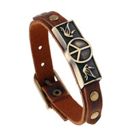 Wholesale leather peace sign jewelry resale online - Hot selling Fashion Peace Sign Leather Handmade Multilayer Charm Bracelets Wristband Jewelry For Men and Women Gifts