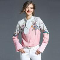 Wholesale Loose Long Shirts Girls - Girls Print Elegant Shirt Spring Bandage Stand Neck Loose Casual Long Sleeve Printed Women Pink Blouse Shirts