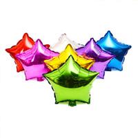 золотые воздушные шары оптовых-50 шт. 10 дюймов Звезда гелия фольги воздушные шары праздник День Рождения питания украшения золотой цвет мультфильм воздушный шар
