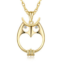 white gold owl necklace 2021 - Magnifying glass necklace for reading fashion Owl pendant necklace Rhodium plated with crystal Magnifier necklace
