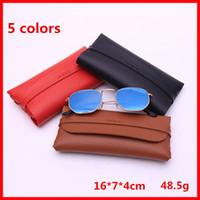 Wholesale leather eyeglass pouches - NEW Glasses Case Carry Bags Women Pouch Wallet Bag Leather Soft Eyeglasses Box Cases Retro Fashion Sunglasses Case