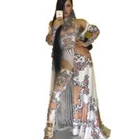 partei ds großhandel-Sexy Printed Frauen Bodysuit Leggings Großen Mantel Einzigartige Outfit Set Nachtclub Ds Prom Party Show Kostüm Sängerin Bühne Tragen