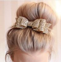 pajarita de oro para niños al por mayor-Broche para el cabello para adultos Shinely Kids con moño y adornos para el pelo Adornos para el cabello Big Gold Hair Clips for Women