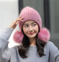 c39996c6c5fdb New wool hat gloves for women winter thickening warm rabbit fur hat Korean  version of the cute fashion trend matching ear cap