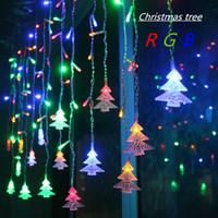 weihnachtsbaum lichtvorhang großhandel-4,5 Mt 96 Leds Vorhang Weihnachtsbaum Eiszapfen Lichterketten Lichterketten Weihnachten Neujahr Lichter Hochzeit Dekoration EU 220 V