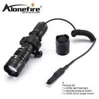 Wholesale outdoor remote switch - AloneFire TK104 CREE XM-L2 LED Tactical Flashlight 5mode Outdoor Camping Torch lamp +tactical mount+remote switch for Hnting 1x 18650