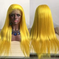 Wholesale Yellow Lace Wig - Yellow colored Silky Straight Soft human hair full lace and Lace Front Wig yellow hair color with Baby Hair