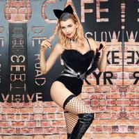 kadınlar için siyah kedi kostümleri toptan satış-Yetişkin Kadın Siyah Catsuit Seksi Catwoman Kostüm Lateks Bodysuit Kadınlar Için Gerilebilir Cadılar Bayramı Kedi Kostümleri Ile Gerilebilir ...