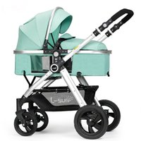 Wholesale two way stroller - Baby stroller Can Sit And Lie 2-in1 Baby strollers two-way pushing Portable High Landscape Umbrella carts