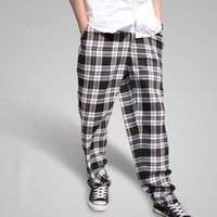 Wholesale Pants Lock - 2017 New Men's Popping Locking Plaid Pants Fashionable Personality Casual Hip Hop Dance Male Big Size Pants A3393