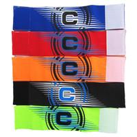 v c al por mayor-Brazalete de fútbol Captain Sleeve Blank Grouping C Sign Hombro Arm Band Algodón Mix Color Sports Más barato 3kl V