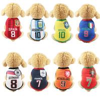 Wholesale pet clothes patterns - Wholesales 8 World Cup Patterns Dog Clothes Pets Dogs Breathful Cotton T-Shirt with Round Dog Collar Pet Supplies Dog Accessories