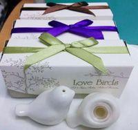 coctelera de sal pimienta de la boda al por mayor-Mini regalo de la fiesta del amor de la sal y de la pimienta de Bird Bird del favor de la boda con la caja del paquete Envío libre