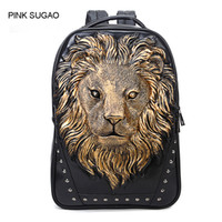 Wholesale travel day backpacks men resale online - Pink sugao backpack men designer backpacks color top pu leather backpack computer bag D print animal Anti theft bag travel school