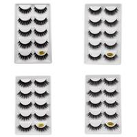 cosméticos falsificados venda por atacado-5 pares / set 3D Mink Falso EyeLashes Grosso Plástico Preto de Algodão Tira Cheia de Cílios Falsos Para Festa Make Up Tool Com Cosméticos