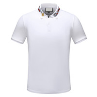 Wholesale polo white stripe resale online – 2019 designer stripe polo shirt t shirts snake polos bee floral embroidery mens High street fashion horse polo T shirt
